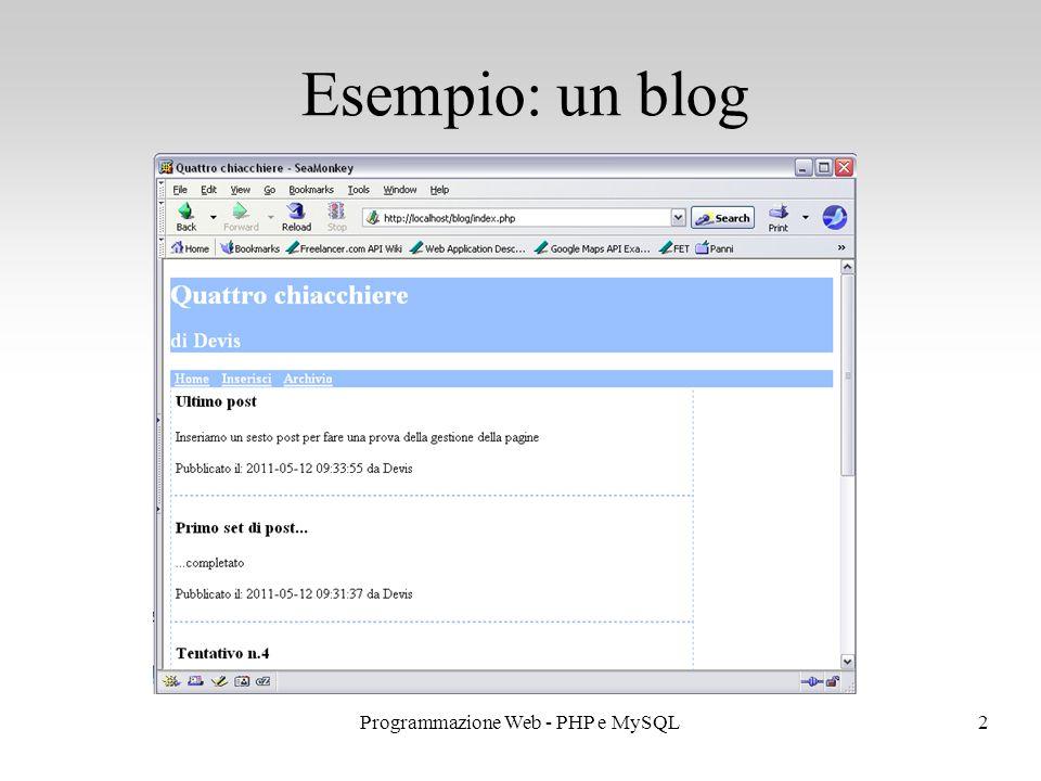 2Programmazione Web - PHP e MySQL Esempio: un blog