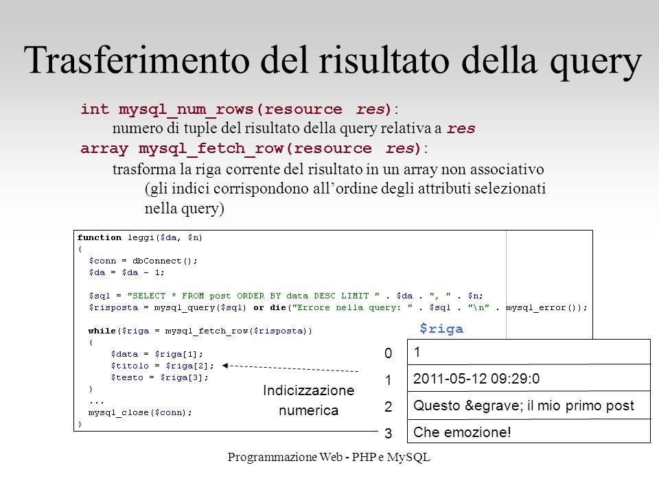 26 Programmazione Web - PHP e MySQL Trasferimento del risultato della query int mysql_num_rows(resource res) : numero di tuple del risultato della query relativa a res array mysql_fetch_row(resource res) : trasforma la riga corrente del risultato in un array non associativo (gli indici corrispondono all'ordine degli attributi selezionati nella query) $riga 01230123 1 2011-05-12 09:29:0 Questo è il mio primo post Che emozione.