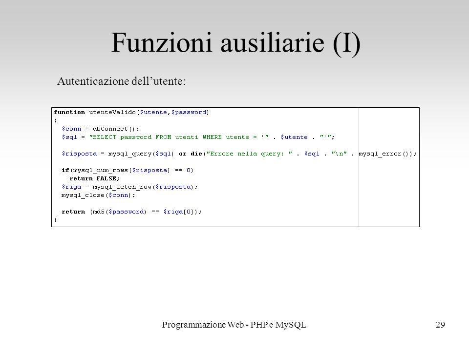 29Programmazione Web - PHP e MySQL Funzioni ausiliarie (I) Autenticazione dell'utente:
