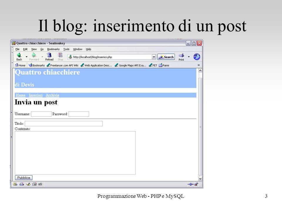 3Programmazione Web - PHP e MySQL Il blog: inserimento di un post