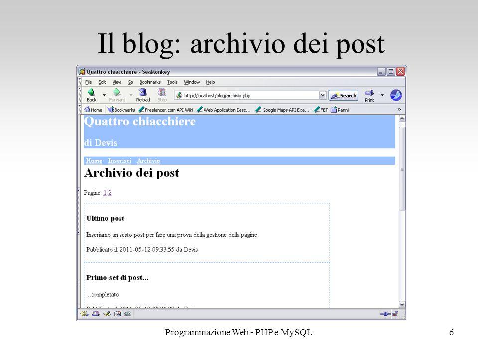 6Programmazione Web - PHP e MySQL Il blog: archivio dei post