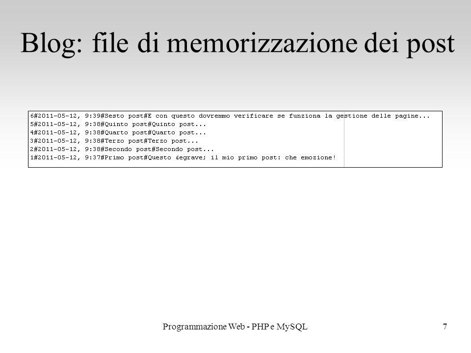 7Programmazione Web - PHP e MySQL Blog: file di memorizzazione dei post