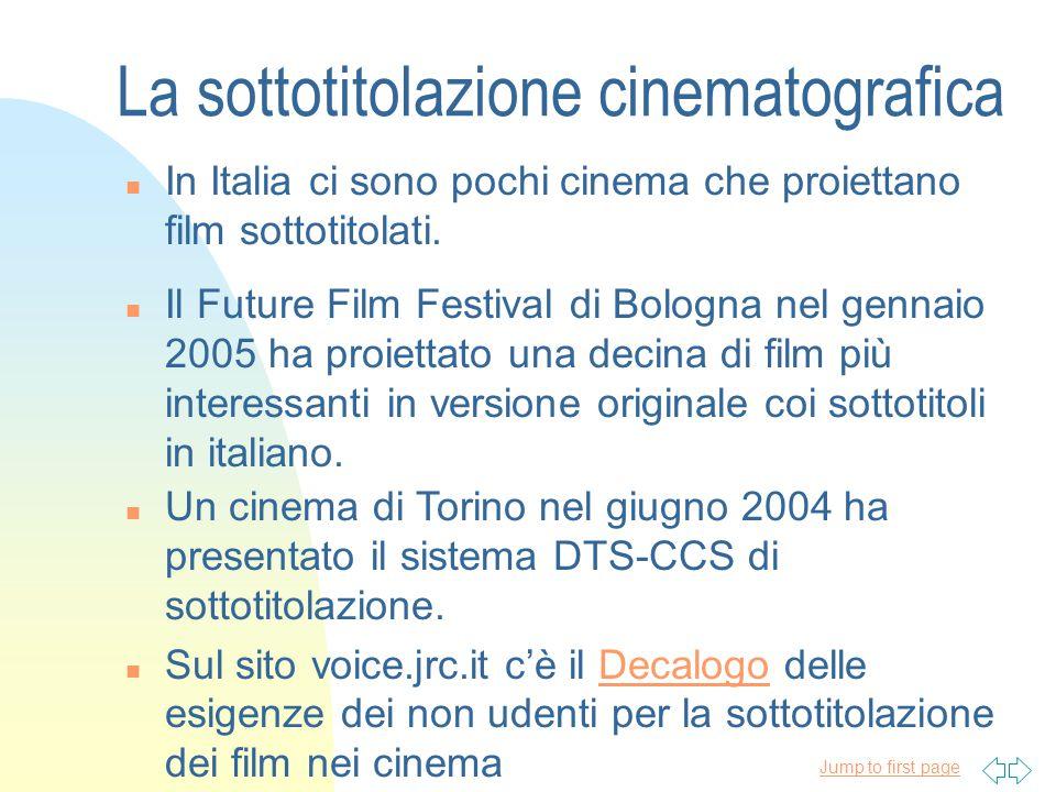 Jump to first page n In Italia ci sono pochi cinema che proiettano film sottotitolati.