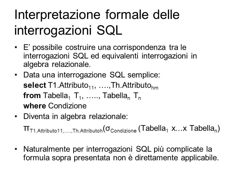 Interpretazione formale delle interrogazioni SQL E' possibile costruire una corrispondenza tra le interrogazioni SQL ed equivalenti interrogazioni in algebra relazionale.