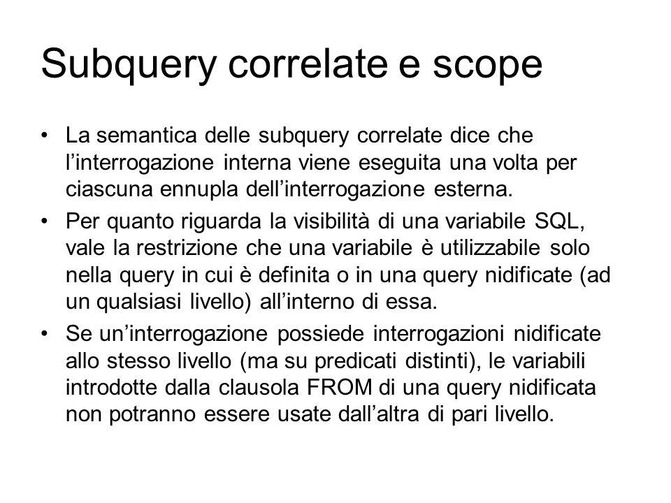Subquery correlate e scope La semantica delle subquery correlate dice che l'interrogazione interna viene eseguita una volta per ciascuna ennupla dell'interrogazione esterna.
