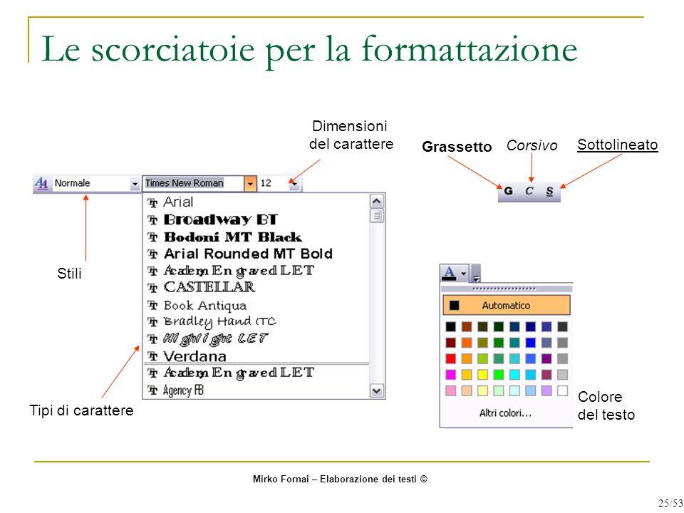 Le scorciatoie per la formattazione Grassetto Corsivo Sottolineato Tipi di carattere Dimensioni del carattere Stili Colore del testo Mirko Fornai – El