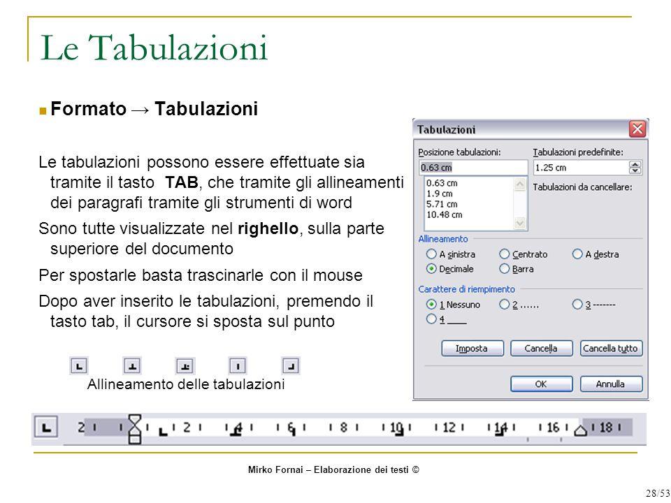 Le Tabulazioni Formato → Tabulazioni Le tabulazioni possono essere effettuate sia tramite il tasto TAB, che tramite gli allineamenti dei paragrafi tra