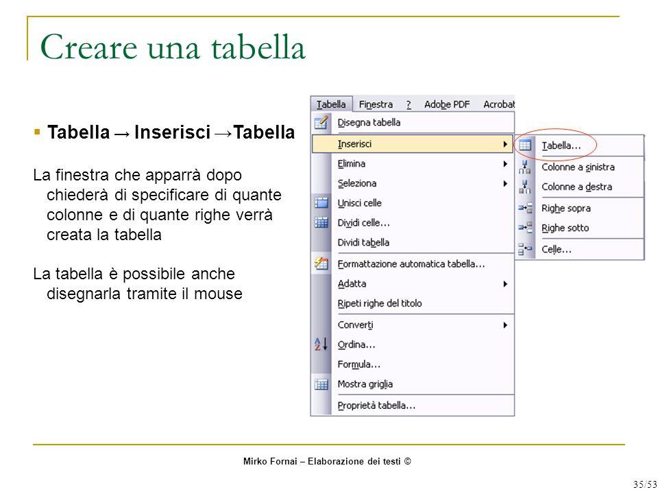 Creare una tabella  Tabella → Inserisci →Tabella La finestra che apparrà dopo chiederà di specificare di quante colonne e di quante righe verrà creat