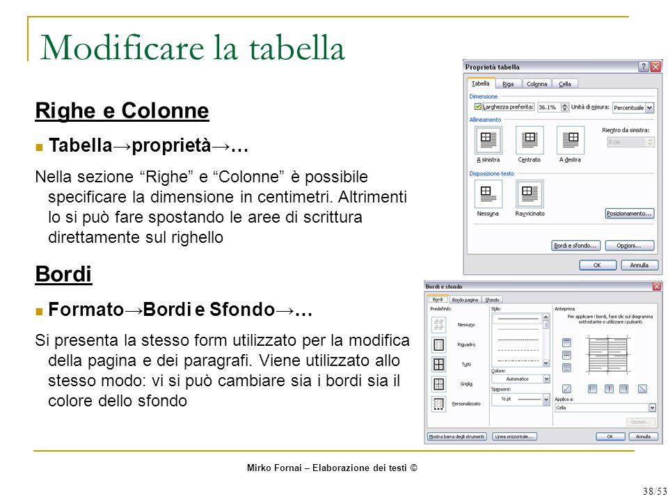 Modificare la tabella Righe e Colonne Tabella→proprietà→… Nella sezione Righe e Colonne è possibile specificare la dimensione in centimetri.
