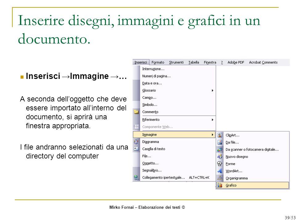 Inserire disegni, immagini e grafici in un documento. Inserisci →Immagine →… A seconda dell'oggetto che deve essere importato all'interno del document