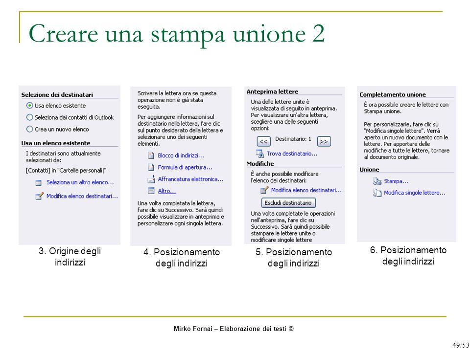Creare una stampa unione 2 3.Origine degli indirizzi 4.
