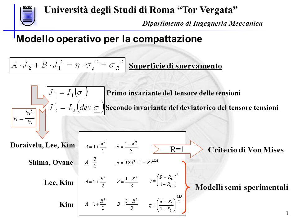 """Università degli Studi di Roma """"Tor Vergata"""" Dipartimento di Ingegneria Meccanica 1 Shima, Oyane Lee, Kim Kim Modello operativo per la compattazione S"""