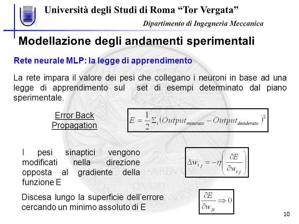 """Università degli Studi di Roma """"Tor Vergata"""" Dipartimento di Ingegneria Meccanica 10 Modellazione degli andamenti sperimentali Rete neurale MLP: la le"""