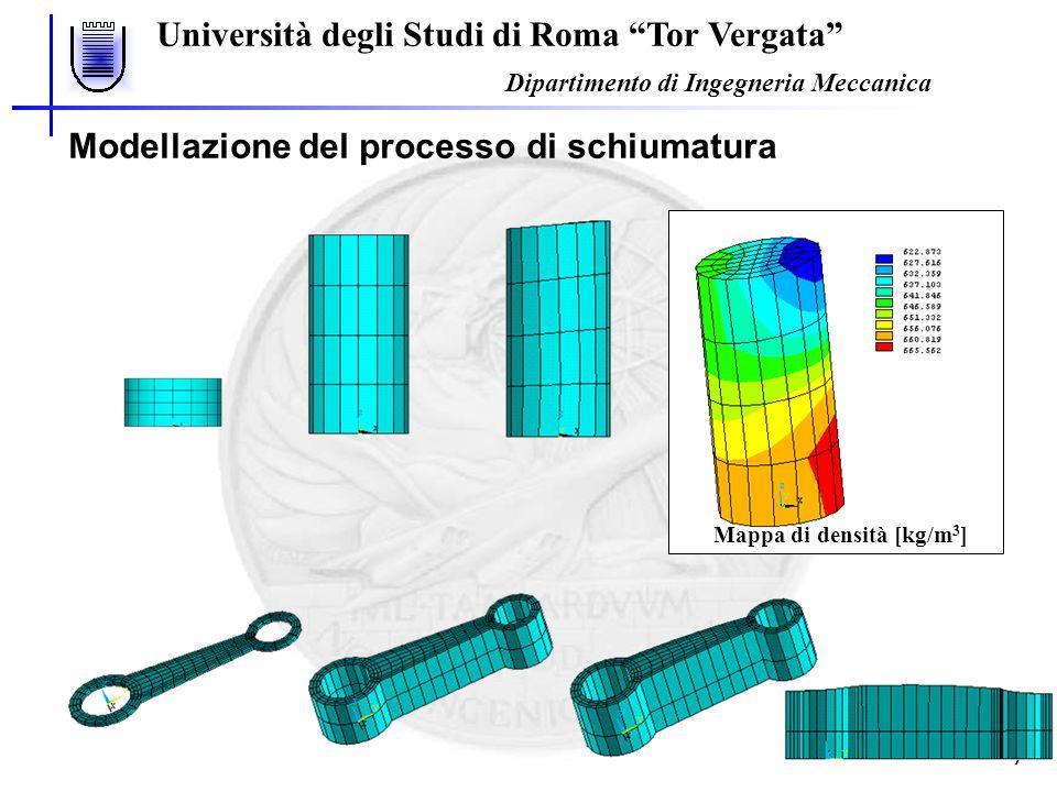 """Università degli Studi di Roma """"Tor Vergata"""" Dipartimento di Ingegneria Meccanica 7 Mappa di densità [kg/m 3 ] Modellazione del processo di schiumatur"""