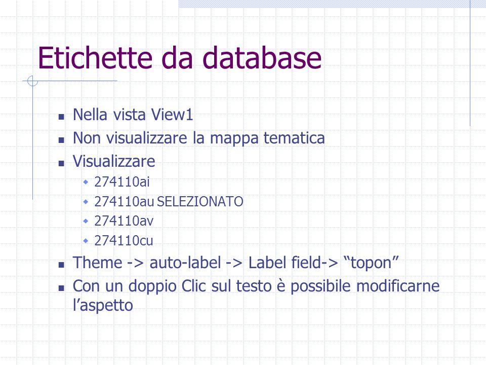 Etichette da database Nella vista View1 Non visualizzare la mappa tematica Visualizzare  274110ai  274110au SELEZIONATO  274110av  274110cu Theme -> auto-label -> Label field-> topon Con un doppio Clic sul testo è possibile modificarne l'aspetto
