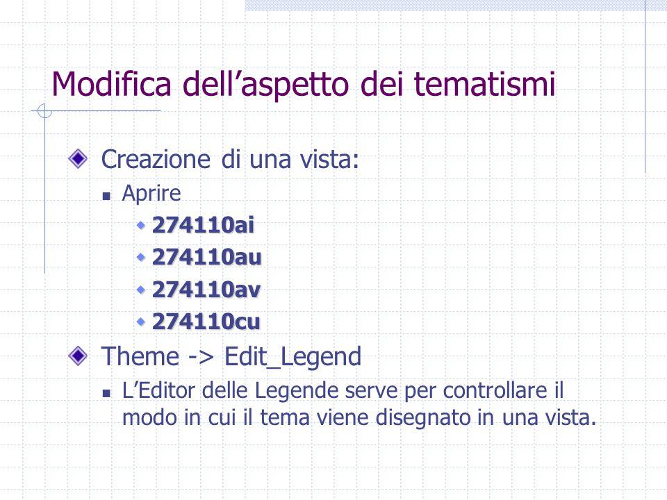 Modifica dell'aspetto dei tematismi Creazione di una vista: Aprire  274110ai  274110au  274110av  274110cu Theme -> Edit_Legend L'Editor delle Legende serve per controllare il modo in cui il tema viene disegnato in una vista.