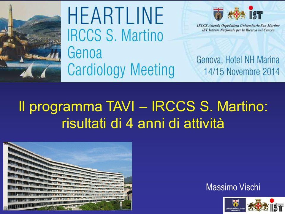 Massimo Vischi Il programma TAVI – IRCCS S. Martino: risultati di 4 anni di attività