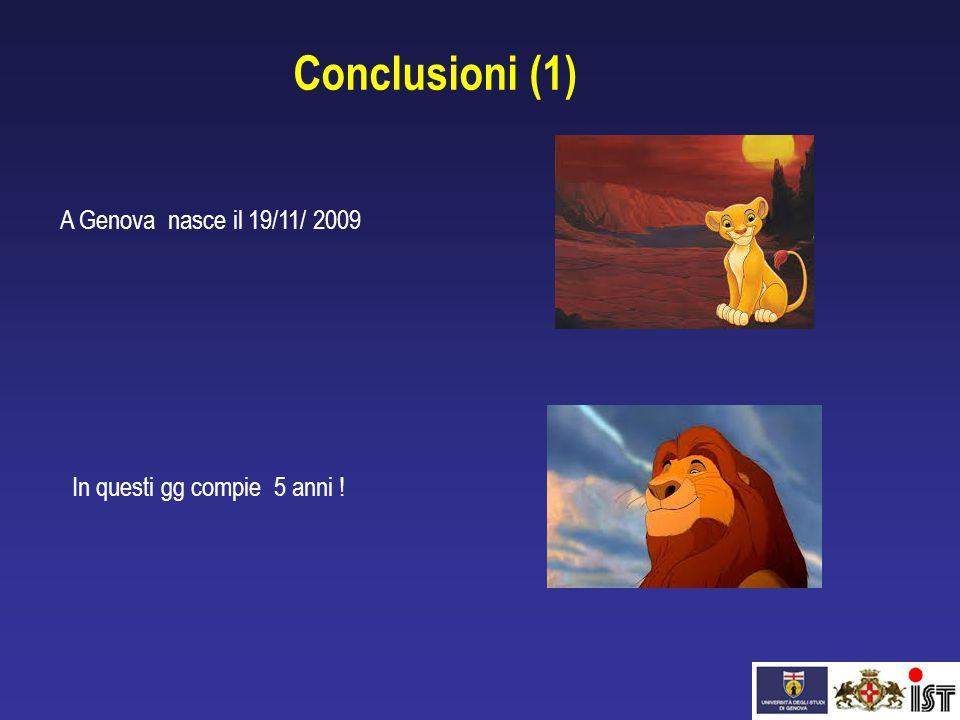 A Genova nasce il 19/11/ 2009 In questi gg compie 5 anni ! Conclusioni (1)