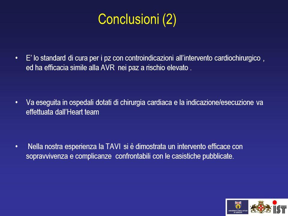 Conclusioni (2) E' lo standard di cura per i pz con controindicazioni all'intervento cardiochirurgico, ed ha efficacia simile alla AVR nei paz a risch