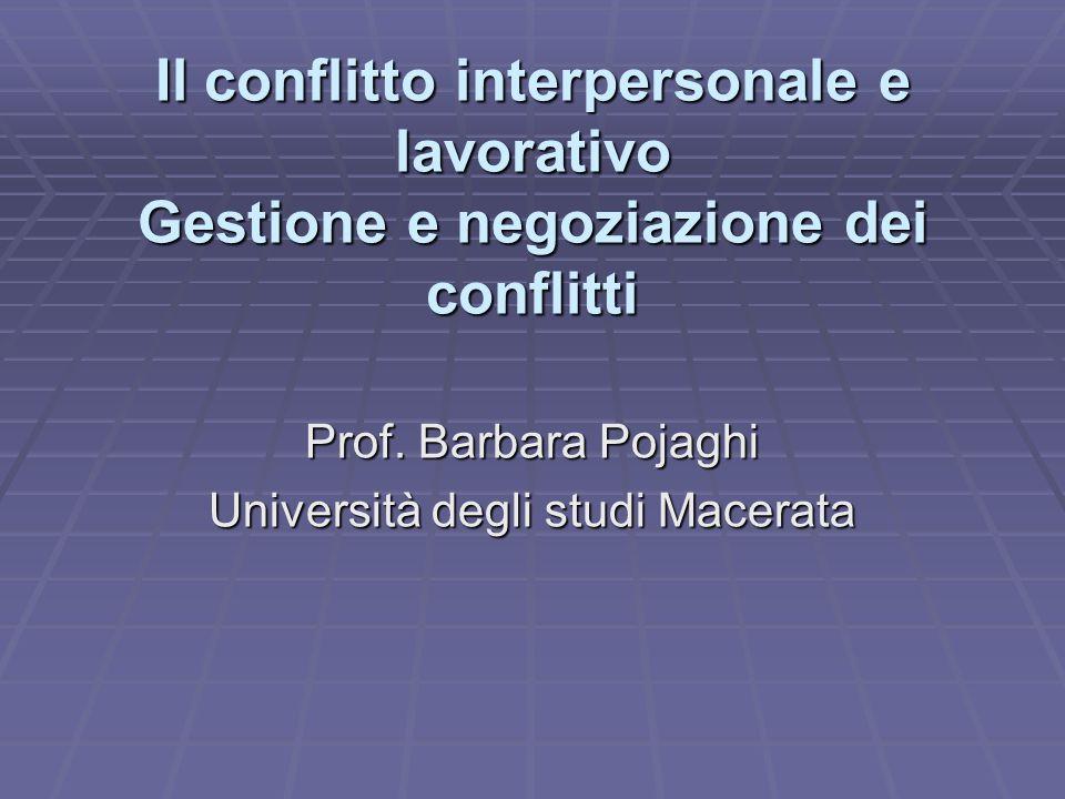 Il conflitto interpersonale e lavorativo Gestione e negoziazione dei conflitti Prof.