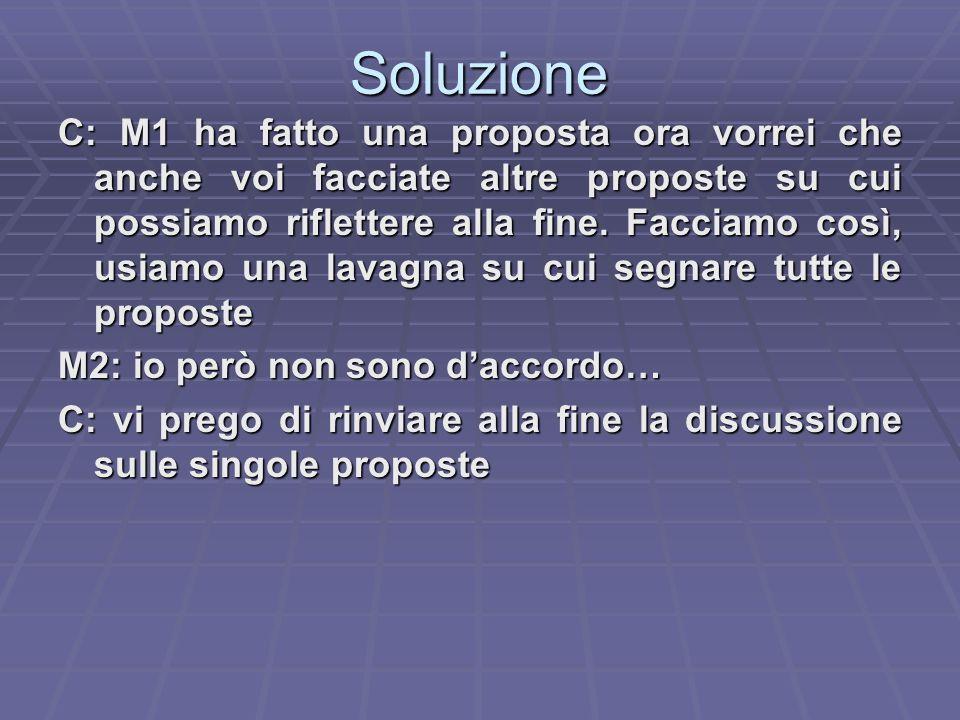 Soluzione C: M1 ha fatto una proposta ora vorrei che anche voi facciate altre proposte su cui possiamo riflettere alla fine.