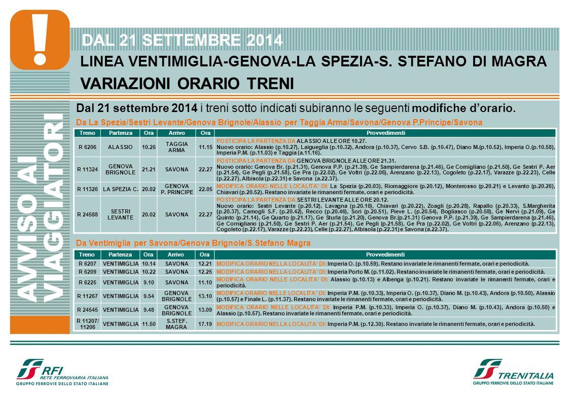 LINEA VENTIMIGLIA-GENOVA-LA SPEZIA-S. STEFANO DI MAGRA VARIAZIONI ORARIO TRENI DAL 21 SETTEMBRE 2014 Dal 21 settembre 2014 i treni sotto indicati subi