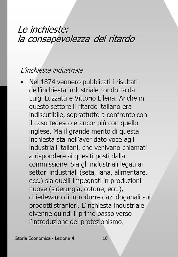 Storia Economica - Lezione 410 Le inchieste: la consapevolezza del ritardo L'inchiesta industriale Nel 1874 vennero pubblicati i risultati dell'inchiesta industriale condotta da Luigi Luzzatti e Vittorio Ellena.