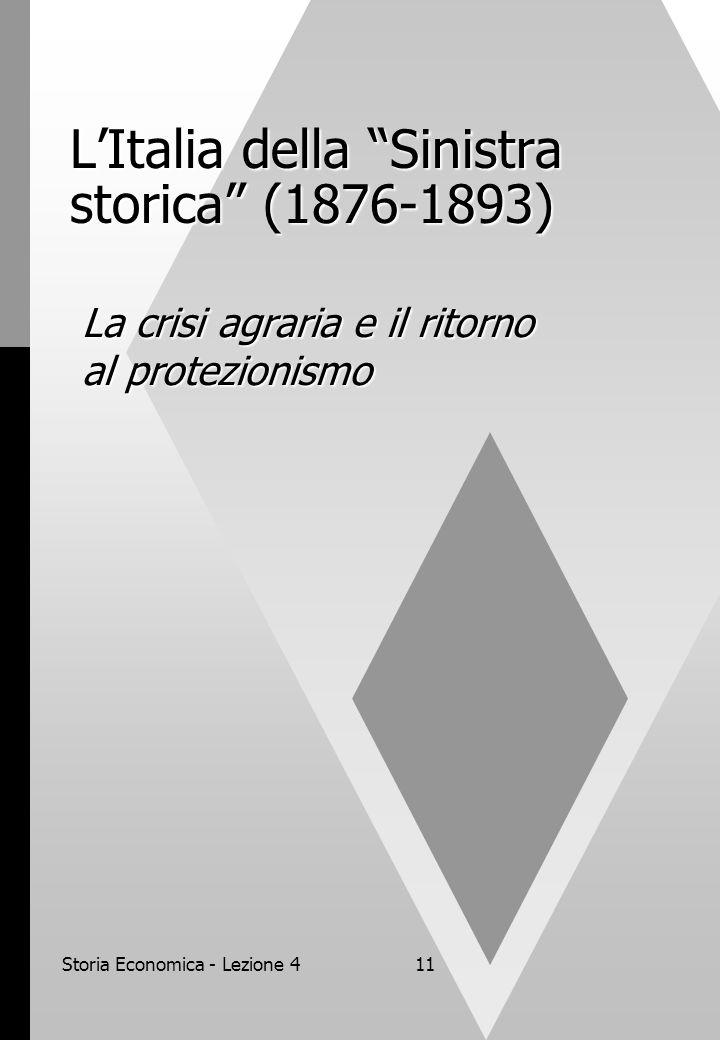 Storia Economica - Lezione 411 L'Italia della Sinistra storica (1876-1893) La crisi agraria e il ritorno al protezionismo