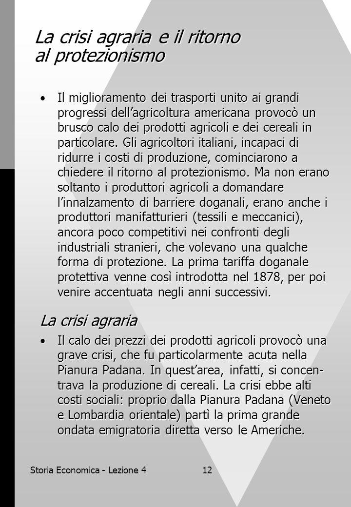 Storia Economica - Lezione 412 La crisi agraria e il ritorno al protezionismo Il miglioramento dei trasporti unito ai grandi progressi dell'agricoltur