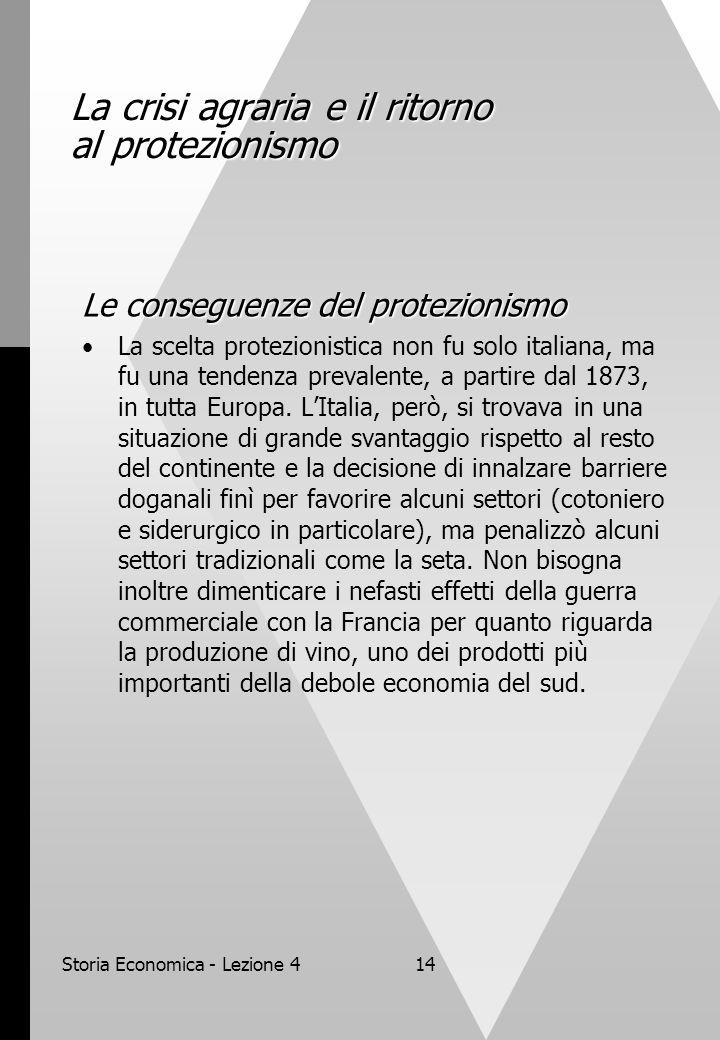 Storia Economica - Lezione 414 La crisi agraria e il ritorno al protezionismo Le conseguenze del protezionismo La scelta protezionistica non fu solo italiana, ma fu una tendenza prevalente, a partire dal 1873, in tutta Europa.