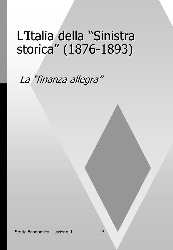 Storia Economica - Lezione 415 L'Italia della Sinistra storica (1876-1893) La finanza allegra