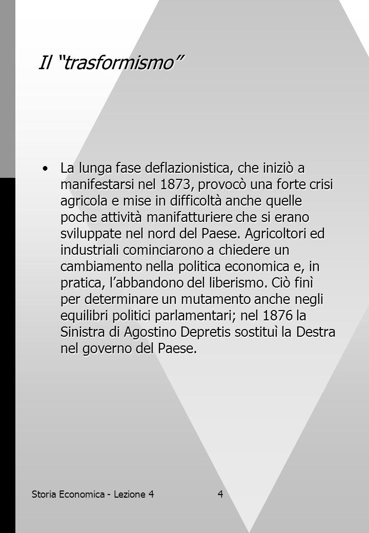 """Storia Economica - Lezione 44 Il """"trasformismo"""" La lunga fase deflazionistica, che iniziò a manifestarsi nel 1873, provocò una forte crisi agricola e"""