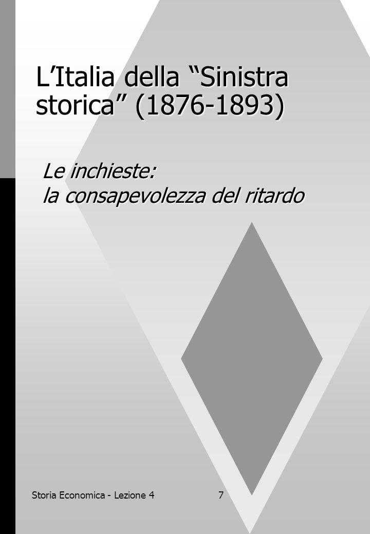 Storia Economica - Lezione 47 L'Italia della Sinistra storica (1876-1893) Le inchieste: la consapevolezza del ritardo