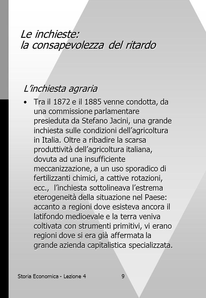 Storia Economica - Lezione 49 Le inchieste: la consapevolezza del ritardo L'inchiesta agraria Tra il 1872 e il 1885 venne condotta, da una commissione parlamentare presieduta da Stefano Jacini, una grande inchiesta sulle condizioni dell'agricoltura in Italia.