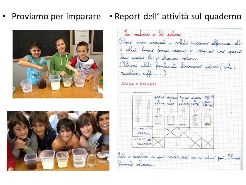 Report dell' attività sul quaderno Proviamo per imparare