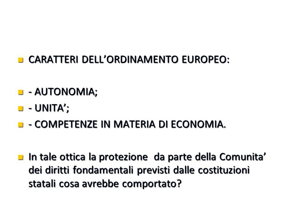 CARATTERI DELL'ORDINAMENTO EUROPEO: CARATTERI DELL'ORDINAMENTO EUROPEO: - AUTONOMIA; - AUTONOMIA; - UNITA'; - UNITA'; - COMPETENZE IN MATERIA DI ECONOMIA.
