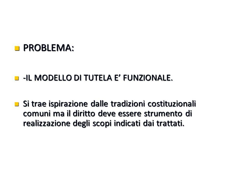 PROBLEMA: PROBLEMA: -IL MODELLO DI TUTELA E' FUNZIONALE. -IL MODELLO DI TUTELA E' FUNZIONALE. Si trae ispirazione dalle tradizioni costituzionali comu