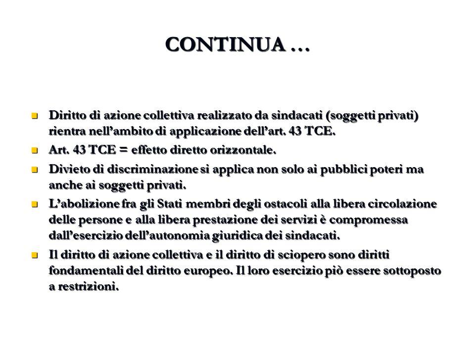 CONTINUA … Diritto di azione collettiva realizzato da sindacati (soggetti privati) rientra nell'ambito di applicazione dell'art. 43 TCE. Diritto di az