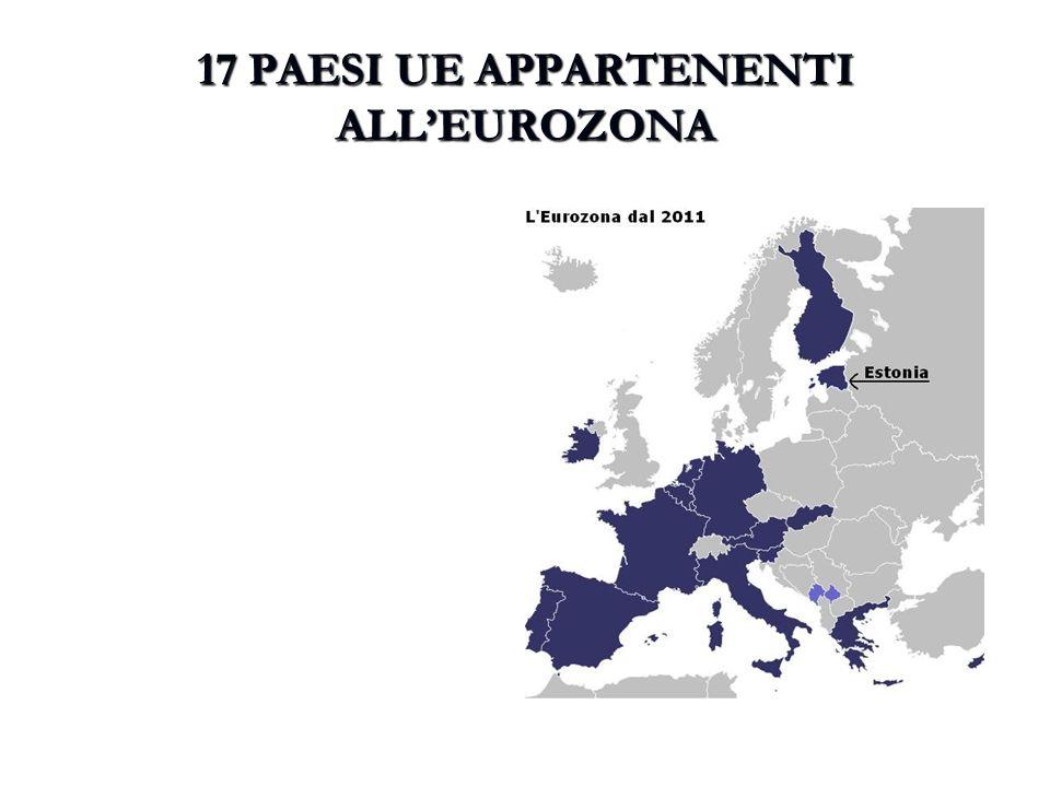 17 PAESI UE APPARTENENTI ALL'EUROZONA