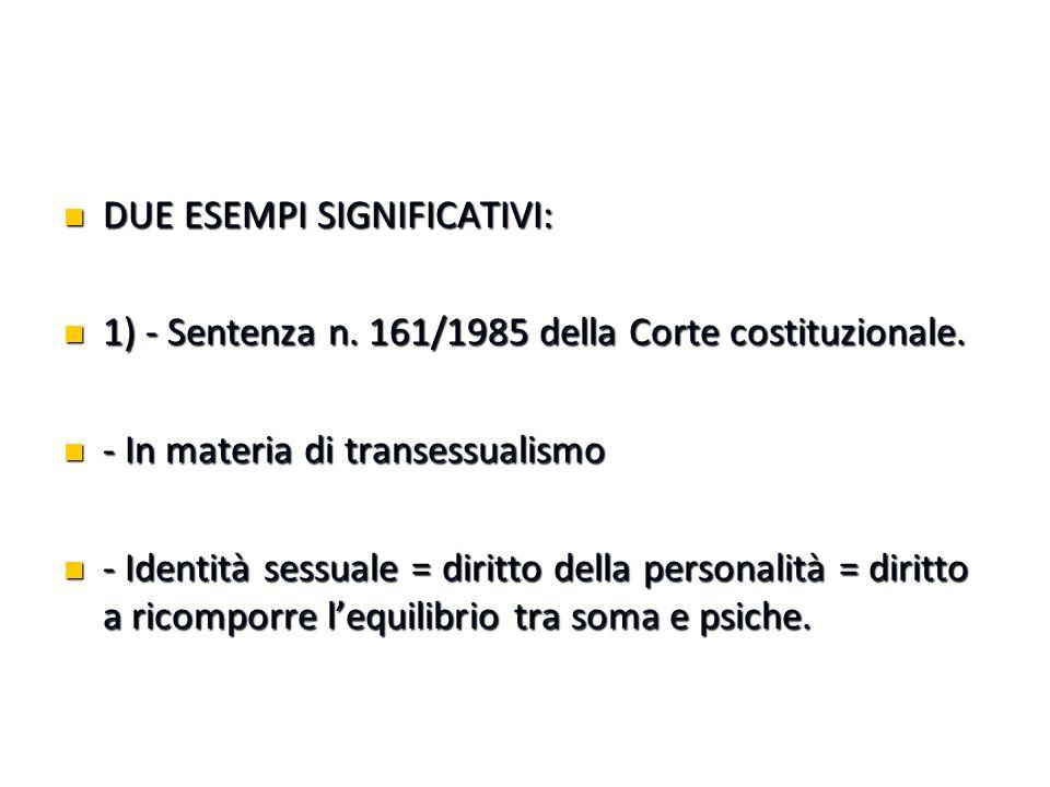 DUE ESEMPI SIGNIFICATIVI: DUE ESEMPI SIGNIFICATIVI: 1) - Sentenza n. 161/1985 della Corte costituzionale. 1) - Sentenza n. 161/1985 della Corte costit
