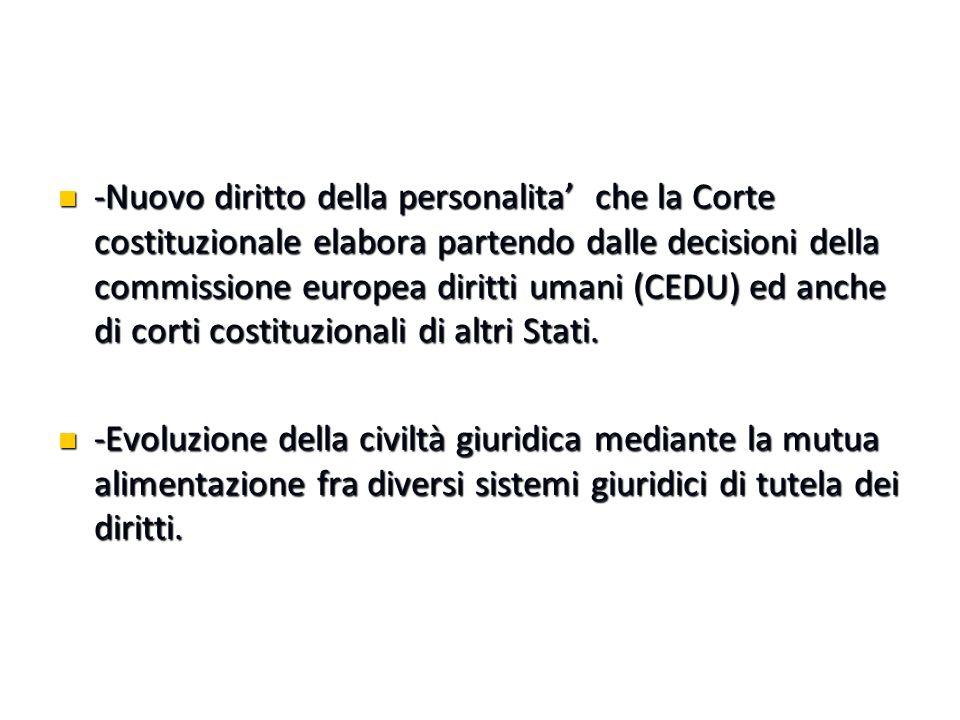 -Nuovo diritto della personalita' che la Corte costituzionale elabora partendo dalle decisioni della commissione europea diritti umani (CEDU) ed anche di corti costituzionali di altri Stati.