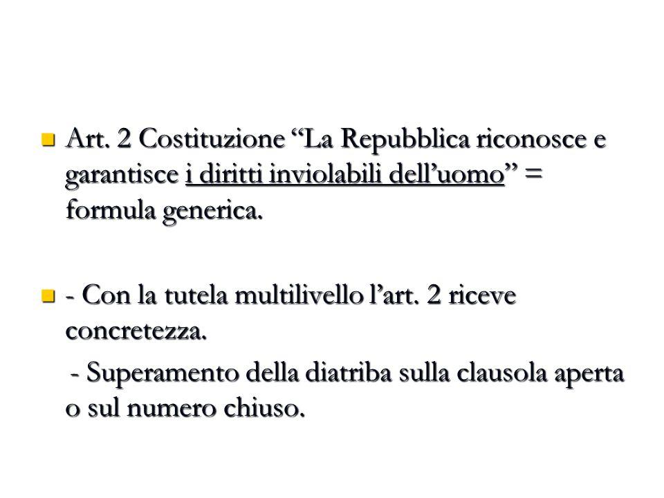 """Art. 2 Costituzione """"La Repubblica riconosce e garantisce i diritti inviolabili dell'uomo"""" = formula generica. Art. 2 Costituzione """"La Repubblica rico"""