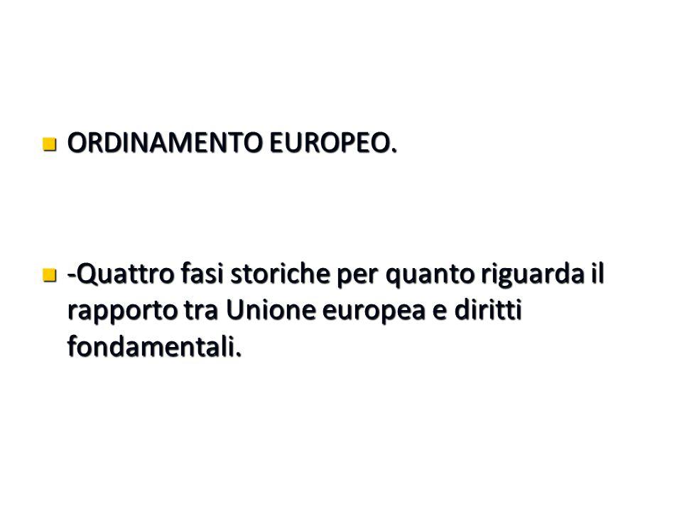 ORDINAMENTO EUROPEO. ORDINAMENTO EUROPEO. -Quattro fasi storiche per quanto riguarda il rapporto tra Unione europea e diritti fondamentali. -Quattro f