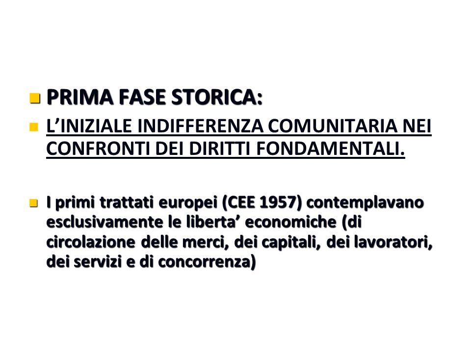 PRIMA FASE STORICA: PRIMA FASE STORICA: L'INIZIALE INDIFFERENZA COMUNITARIA NEI CONFRONTI DEI DIRITTI FONDAMENTALI. I primi trattati europei (CEE 1957