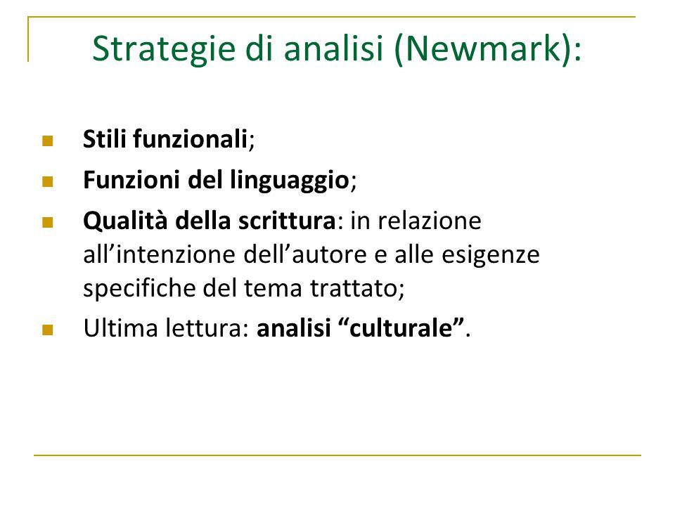 Strategie di analisi (Newmark): Stili funzionali; Funzioni del linguaggio; Qualità della scrittura: in relazione all'intenzione dell'autore e alle esigenze specifiche del tema trattato; Ultima lettura: analisi culturale .