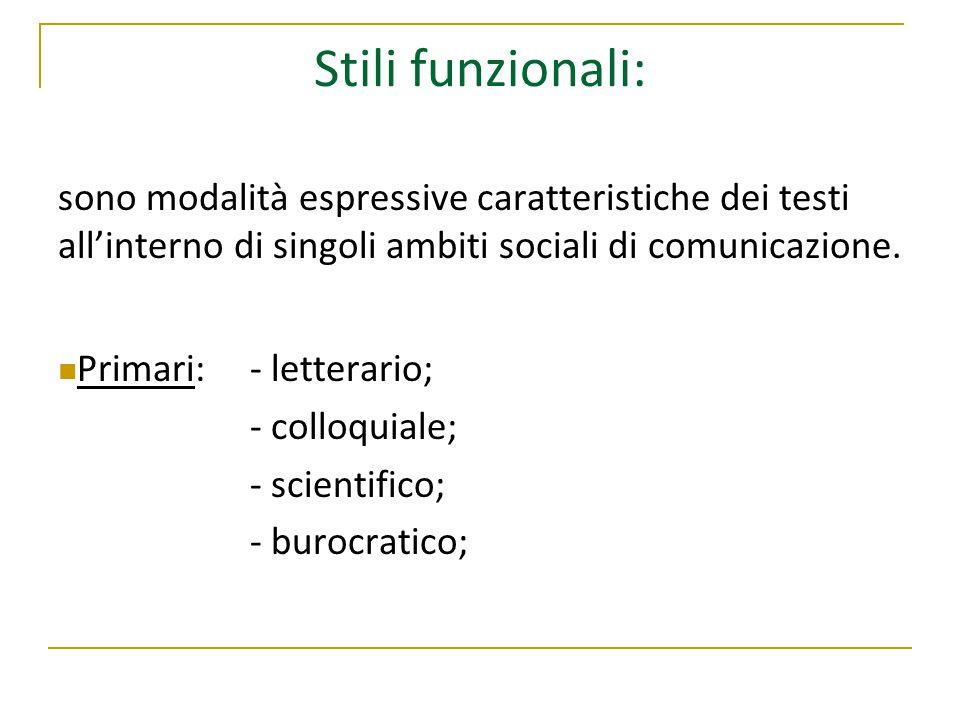 Stili funzionali: sono modalità espressive caratteristiche dei testi all'interno di singoli ambiti sociali di comunicazione.