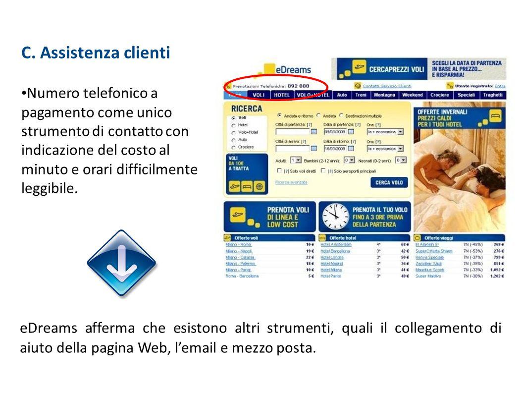 C. Assistenza clienti Numero telefonico a pagamento come unico strumento di contatto con indicazione del costo al minuto e orari difficilmente leggibi