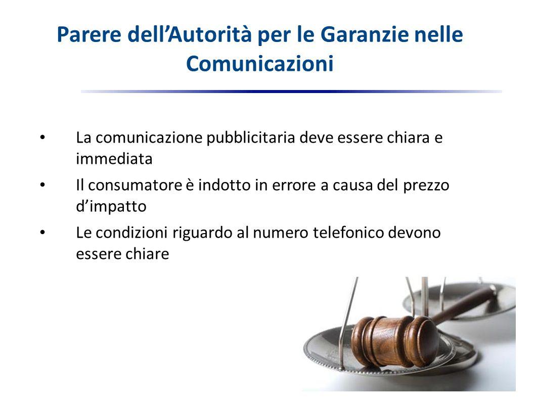 Parere dell'Autorità per le Garanzie nelle Comunicazioni La comunicazione pubblicitaria deve essere chiara e immediata Il consumatore è indotto in errore a causa del prezzo d'impatto Le condizioni riguardo al numero telefonico devono essere chiare