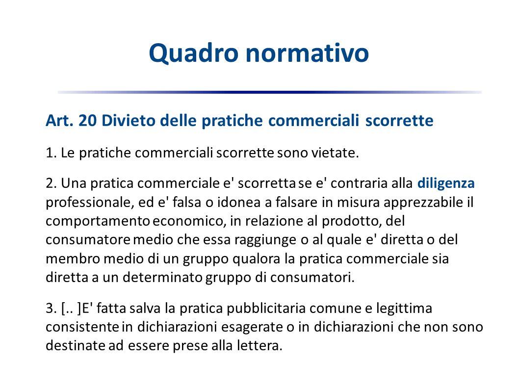 Art. 20 Divieto delle pratiche commerciali scorrette 1.