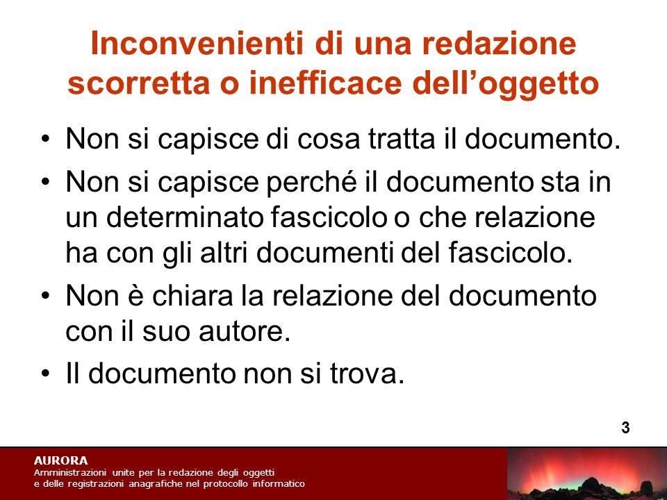 AURORA Amministrazioni unite per la redazione degli oggetti e delle registrazioni anagrafiche nel protocollo informatico Inconvenienti di una redazione scorretta o inefficace dell'oggetto Non si capisce di cosa tratta il documento.